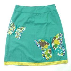 Boden Jade Green Skirt Butterflies Applique